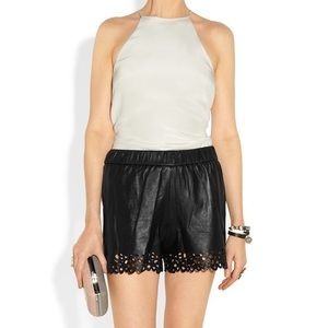 DVF leather shorts
